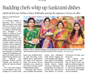 Sankranthi Celebrations at Regency College of Hotel Management