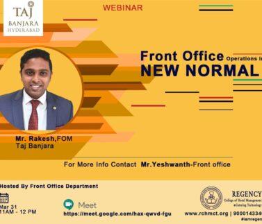 Guest Session By Mr. Rakesh,FOM,Taj Banjara